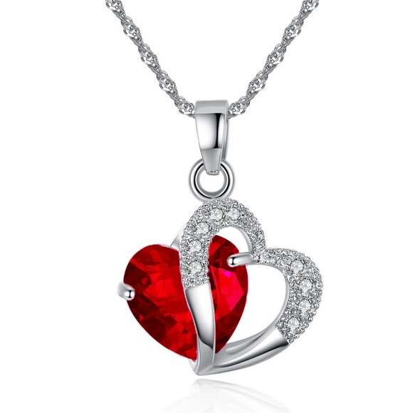 Justice Crystal Heart Pendant Necklace NWT Girls Jewelry Easter Basket Valentine